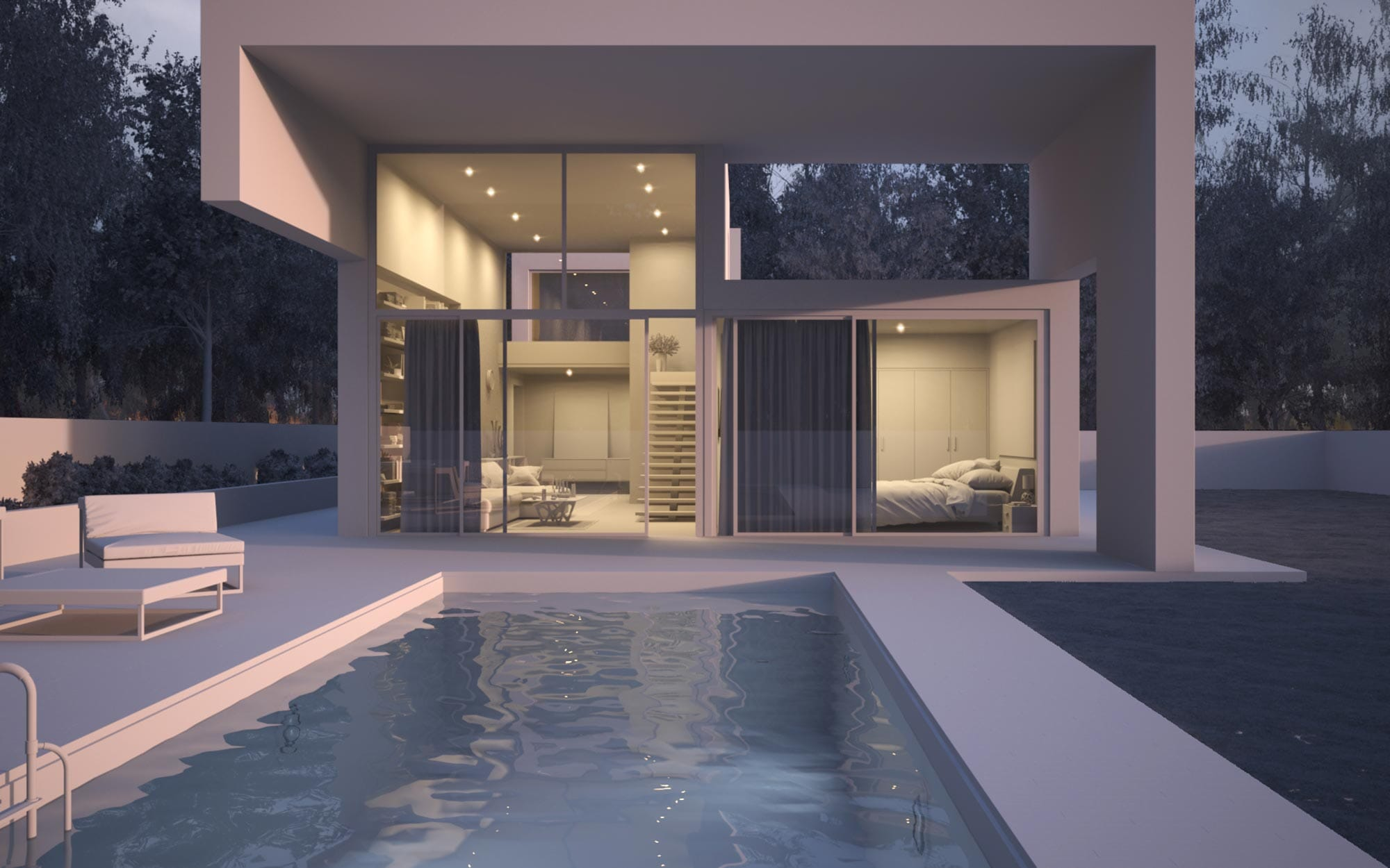 Projet Villa à Genêve - Maquette Blanche 3D